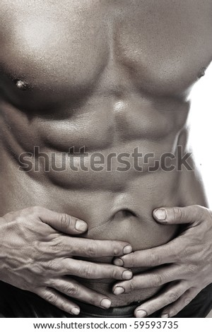 Muscle body, strong macho man on white - stock photo