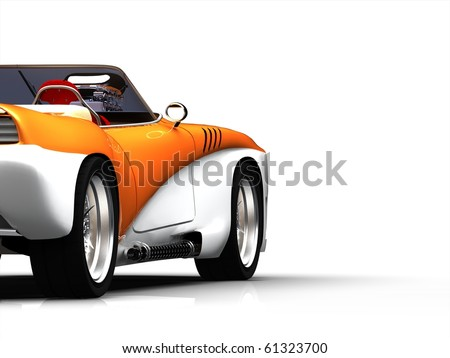 Muscle Car - Crop Side View Isolated on White Background - stock photo
