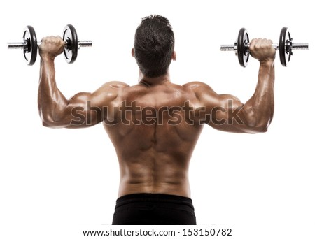 Muscle man in studio lifting weights, isolated over a white background - stock photo