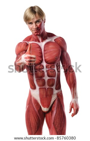 muscle man shows thumb up - stock photo