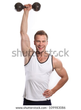 Muscle sexy wet naked young man torso - stock photo