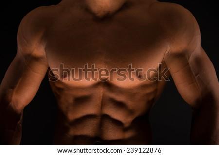 Muscled male torso in studio - stock photo