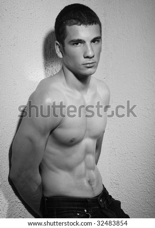 Muscled model in studio