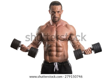 Muscular Bodybuilder Guy Doing Exercises With Dumbbells Over White Background