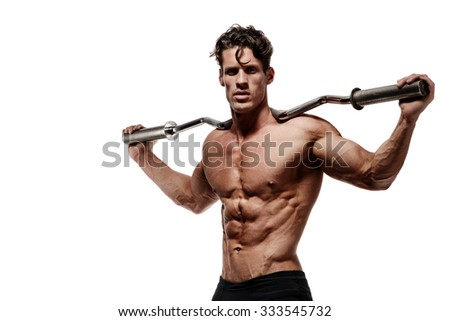 Muscular bodybuilder man doing exercises isolated over white background - stock photo