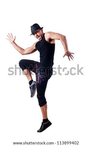 Muscular dancer isolated on white - stock photo