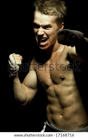 Muscular Fighter - stock photo