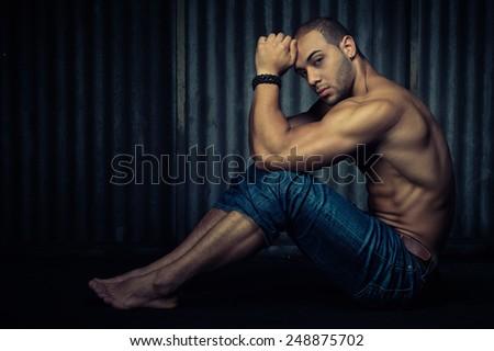 muscular guy - stock photo