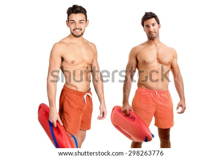 Muscular lifeguards isolated in a white background