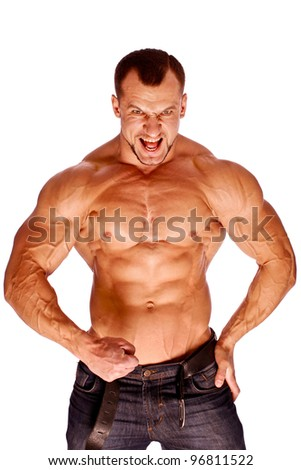 Muscular male  bodybuilder on white background - stock photo