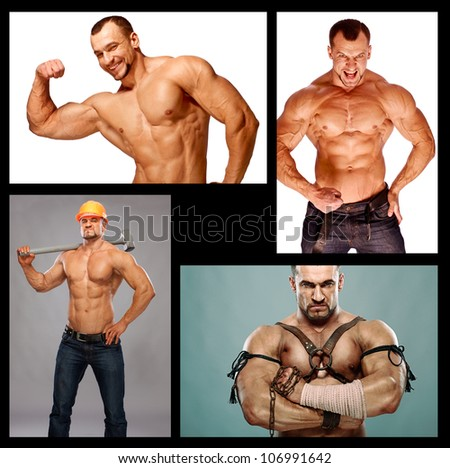 muscular male composition - stock photo
