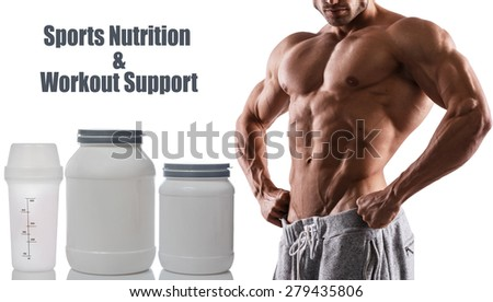 Muscular male torso and different food supplements - stock photo