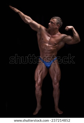 muscular man background - stock photo