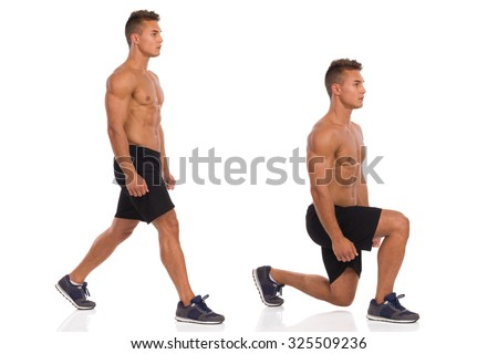 Muscular man does a split squat, side view, step by step. Full length studio shot isolated on white. - stock photo
