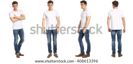 Muscular man in jeans isolated on white - stock photo