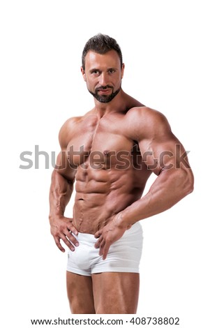 Muscular man in underwear isolated on white - stock photo