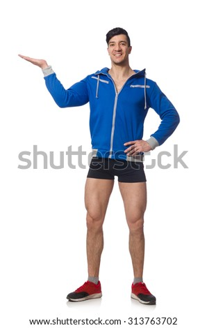 Muscular man isolated on the white - stock photo