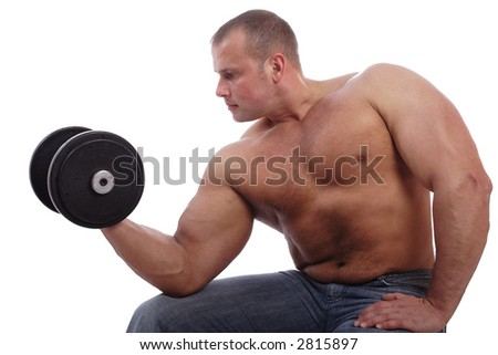 MUSCULAR MAN. ISOLATED ON WHITE. SHOT IN STUDIO. - stock photo