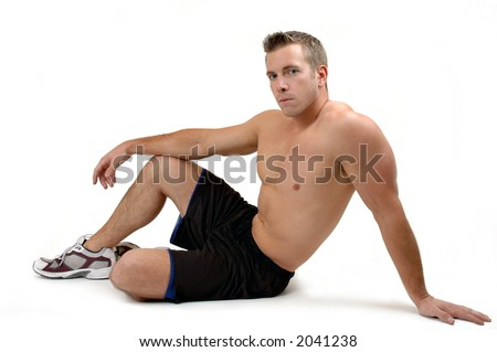 Muscular man resting after a workout