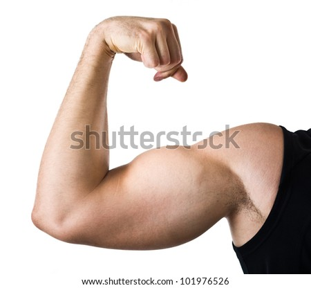 Muscular man showing his muscles. Isolated on white
