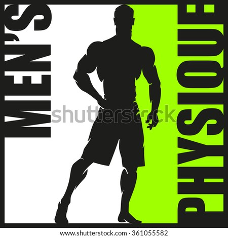 Muscular Man Silhouette Lifting Weights. Fitness icon