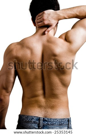 Muscular man with back neck ache isolated on white - stock photo