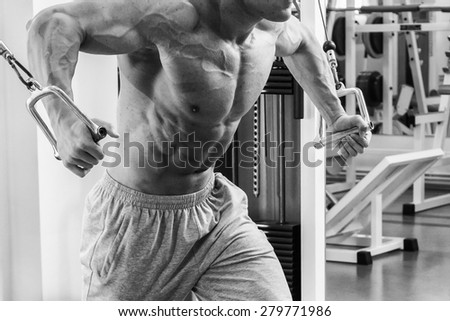 Muscular man working out with weights in gym. Man makes exercises. - stock photo