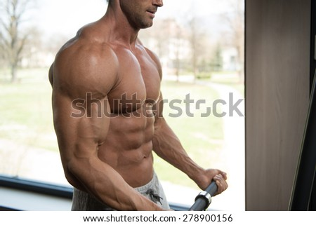 Muscular Mature Man Bodybuilder Doing Heavy Weight Exercise For Biceps - stock photo