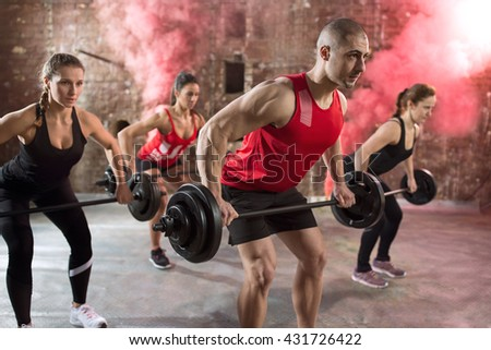 muscular people bodybuilders workout torso with dumbbell - stock photo