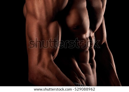 Muscular strong male torso,six pack abs