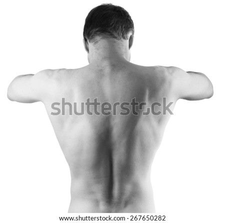 Muscular young male naked back isolated on white background, black and white studio photo - stock photo
