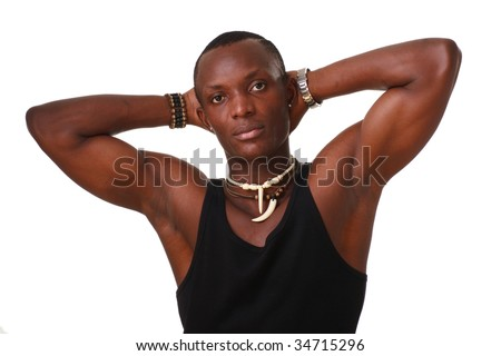 Muscular young man isolated on a white background with copy space