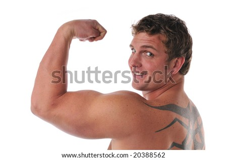 Muscular young man's torso isolated on a white background - stock photo