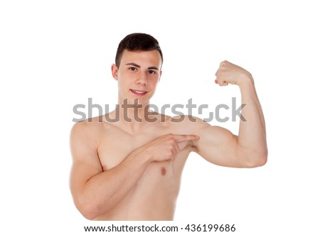 Muscular young man with naked torso isolated on white background