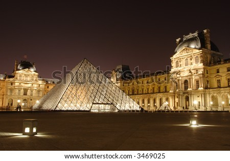 Musee du Louvre at night, Paris, France - stock photo