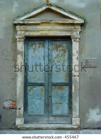 Museum entrance in Montagnana, Italy - stock photo