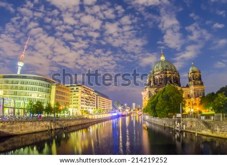 Museum Insel and Berlin Cathedral. Night cityscape. - stock photo