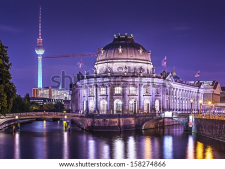 Museum Island and TV Tower in Berlin, Germany. - stock photo