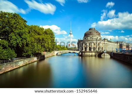 Museum island on Spree river and the TV tower, Berlin - stock photo