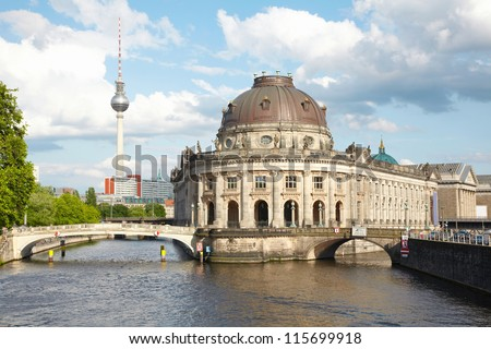 Museum Island on Spree river, Bode museum and Tv Tower view, Berlin