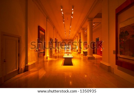 Museum-like setting with columns, spot lights & displays. More with keyword Series003. - stock photo