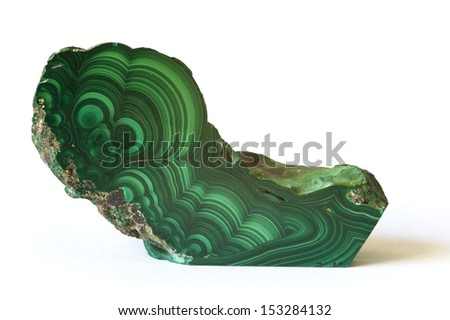 MUSEUM MINERAL SERIES: Polished malachite from the Congo, isolated on white. 13cm long. - stock photo