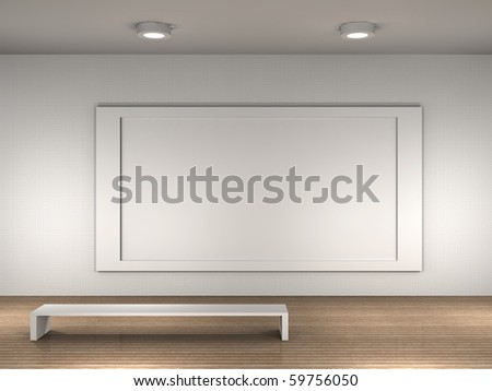 museum room with frame for text or picture - stock photo