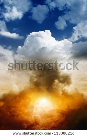 Mushroom cloud from nuclear bomb explosion - stock photo