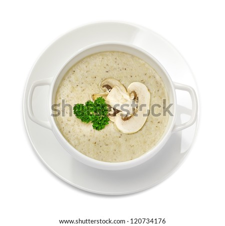 Mushroom cream soup isolated on white, top view - stock photo