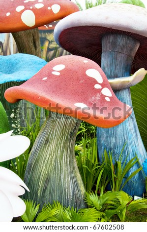 Mushroom in the garden - stock photo