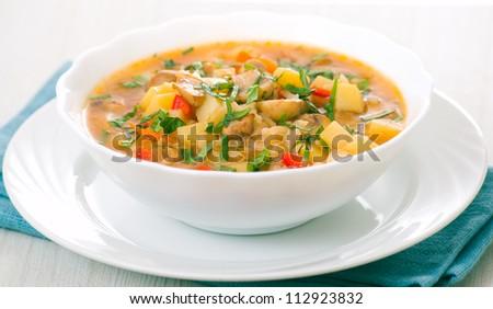 mushroom soup with potato and rice - stock photo