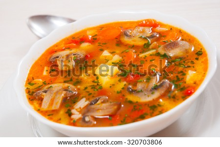 mushroom soup with rice and vegetables - stock photo