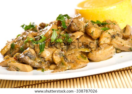Mushroom stew with parsley and polenta