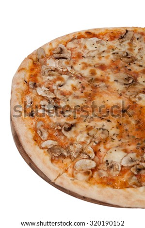 Mushrooms pizza from above on the white background.